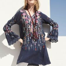 340379584e5e Johnny Was Size PXL Lulu Tunic Embroidered Long Top Dress Blue Night