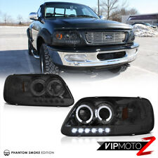 [SMOKED] Halo LED DRL Projector Headlight Signal Lamp For 97-03 Ford F150 PickUp