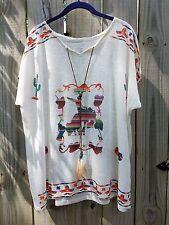 Cowgirl Gypsy serape bronc bling Boho Aztec Native Top Tunic NWT ivory