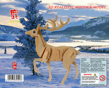 Deer DIY 3d Jigsaw Realistic Wooden Model Construction Gift Toy Decorate Puzzle