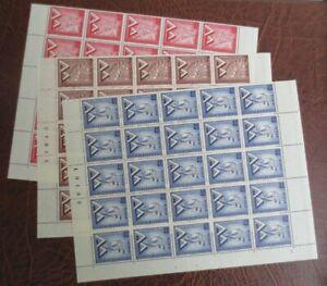 Berlin 1957 Mi.-Nr. 160-162 Bogenteile 1/2 Bogen ** mit Eckrand Ecke 4 FN 4-2-3