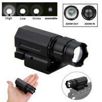Zoom Weaver Picatinny Rail Tactical Flashlight Torch Lamp Hunting Light 16430