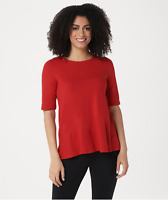 Cuddl Duds Flexwear Elbow-Sleeve Asymmetric Peplum Top in Red, Large A346871