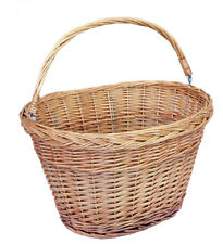 Handwoven Natural Wicker Bicycle Basket Picnic with Handle and Quick Install
