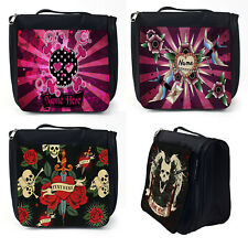 Personalised Wash Bag SKULL Toiletry Hanging Overnight Case Black Tattoo Gift