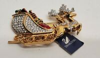 SIGNED SWAROVSKI PAVE' CRYSTAL REINDEER SLEIGH PIN  PIN~ BROOCH RETIRED RARE