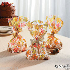 24 THANKSGIVING Fall Autumn Party Favors Treat Loot CELLO GOODY BAGS LEAVES Leaf