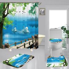 Spring White Swan Shower Curtain Bath Mat Toilet Cover Rug Bathroom Decor