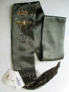 WOO Shanghai-Luxury Silk Scarf w/Glass Beads, Bee/Crown - NWT Current Collection