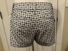 J. Crew White Eyelet Shorts w/ Blue Contrast Stitching, Size 8