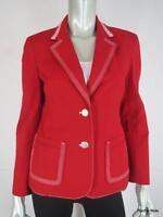 NWT $495 ST JOHN SPORT P Cotton Top Stitched Luxury Red White Jacket Blazer NEW