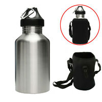 2L LARGE Stainless Steel Wide Mouth Water Drink Bottle Cycling Sports + Bag