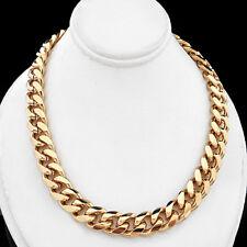"ALL SIZES 16""-30"" 9mm CURB Link Men CHAIN 14K Gold GL Necklace LIFETIME GUAR"