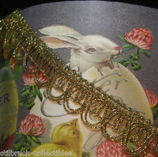 """GOLD METALLIC TRIM ANTIQUE VINTAGE LACE TRIM WITH LOOPS FOR LAMPSHADE 7/8"""""""