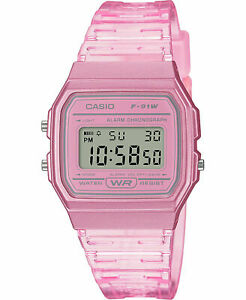 Casio F91WS-4, Digital Chronograph Watch, Pink Jelly Resin Band, Alarm, Date