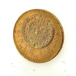 1959 Gold 20 Pesos Mexico Veinte Pesos, 20 Pesos, Aztec Calendar Coin KM #478