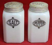 Anchor Hocking Milk Glass Range Salt & Pepper Shaker Set w/ Black Lettering