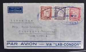 BOLIVIA to GERMANY 1937 Maps on LAB-CONDOR Airmail Flight Cover ORURO > Oelsnitz