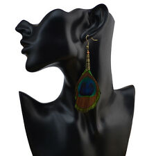 Fashion Bohemian Peacock Tail Feather Tassel Long Drop Dangle Earrings Jewelry