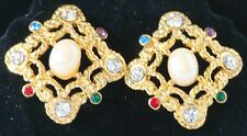 GOLDTONE Vintage NEW Pierced SQUARE PEARL & Stone EARRINGS p106 $18 Retail 1981