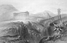 ITALY Greek Grecian Temple at Segesta - 1840 Print Engraving