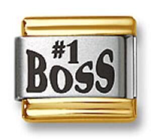 Italian Charm Bracelet Links Laser #1 Boss Gold Trim 9mm Stainless Steel Modular