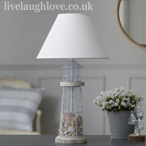 Shell Filled Lighthouse Lamp With Fabric Shade