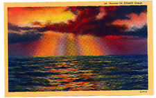 Sunrise on Atlantic Ocean AC linen post card unused 1940's