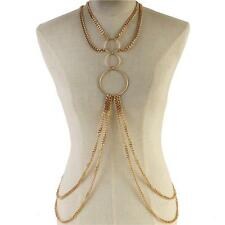 gold ring chain link necklace earrings layered body chain swimsuit bra jewelry