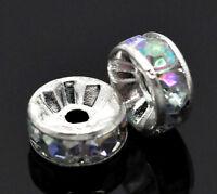 100 Versilbert  Farben Acryl Strass Rondell Spacer Perlen Beads 8mm B14998