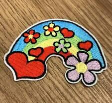 Bügelbild Aufnäher Applikation Patch Nähen Basteln Verzieren Blumen Regenbogen