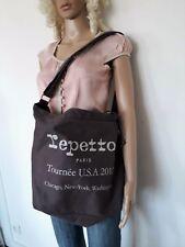 Repetto - Sac porté épaule - Collector Tour des USA - gris en toile coton