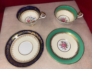 Aynsley Mismatch Pair Of Fine Bone China Teacups Mad In England