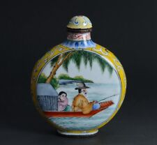 Chinese Ancient Figures Drawing Enamel Decorated Copper Snuff Bottle-JR12227