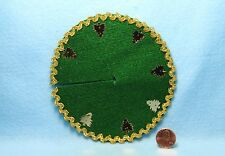 Dollhouse Miniature Christmas Tree Skirt Green Felt with Gold Trees DH4004-2