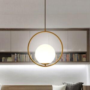 Minimal Gold Round Ring with White Glass Globe Ball Pendant Light Fixture 1 Lamp