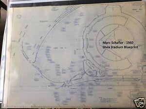 1960 SHEA STADIUM REPRODUCTION BLUEPRINT, NY METS FLUSHING QUEENS NEW YORK 24x36