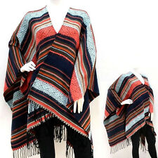 Winter Blanket Oversize Serape Pancho Wrap Shawl Aztec US Seller Multi-Color