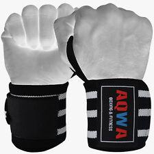 Aqwa per il sollevamento pesi Supporto Polso Wraps Palestra Di Formazione Cinghie Bendaggio Nero Bianco