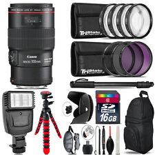 Canon EF 100mm 2.8L IS USM Lens + Flash +  Tripod & More - 16GB Accessory Kit