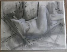 "Nude Woman on Lounge Chair 20"" x 26"" Drawing-1970-August Mosca"