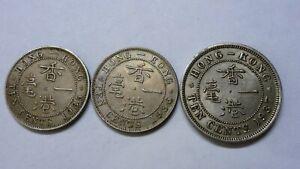 Hong Kong 1935,36,37 10 cents coins, XF