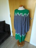 Ladies SAVOIR Dress Size 16 Blue Green Tunic Smart Party Evening Wedding