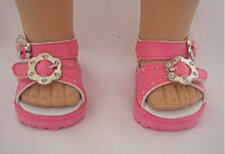 Pink Sandals with Floral Buckles Fits 18 inch American Girl Dolls