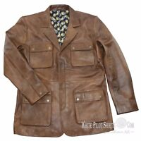 Douglas Blazer Leather Vintage Brown Field Military 4 pocket Men's Lapel