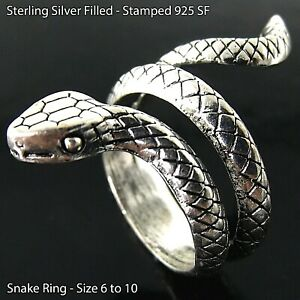 Snake Ring Real 925 Sterling Silver Filled Solid Oxidized Wraparound Sizes 6 -10