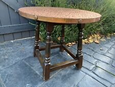 Classic Old Home Pub Bar Man Cave Shed Hammered Copper Top Side Table Derby