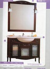 MOBILE DA BAGNO SPECCHIO TOP CERAMICA CLASSICO 105 CM arte povera anticato vetri