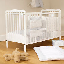 NEW 4BABY WHITE SOLID WOOD EVA CLASSIC BABY COT & SUPER FOAM SAFETY MATTRESS