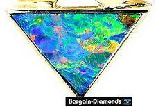 best black opal 14K gold pendant triangle birthstone unisex Australian opala